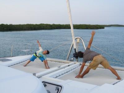 Yoga on a yacht
