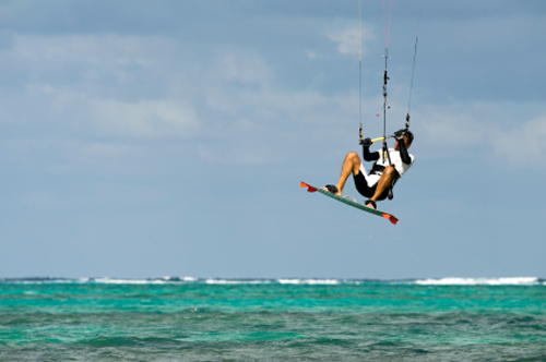 kite surfer in the caribbean ocean