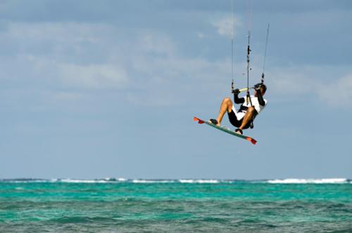 kite surfer in the caribbean ocean
